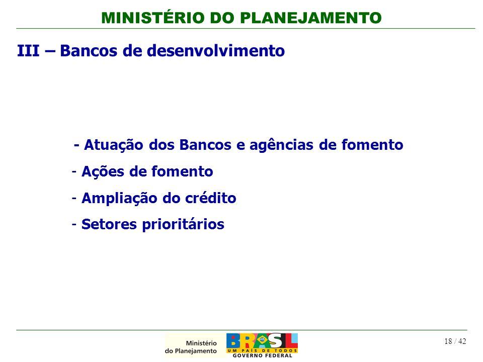 III – Bancos de desenvolvimento
