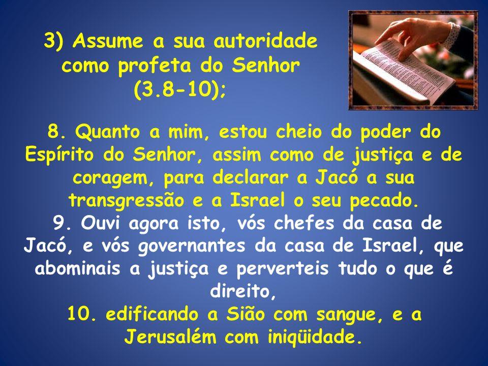 3) Assume a sua autoridade como profeta do Senhor (3.8-10);