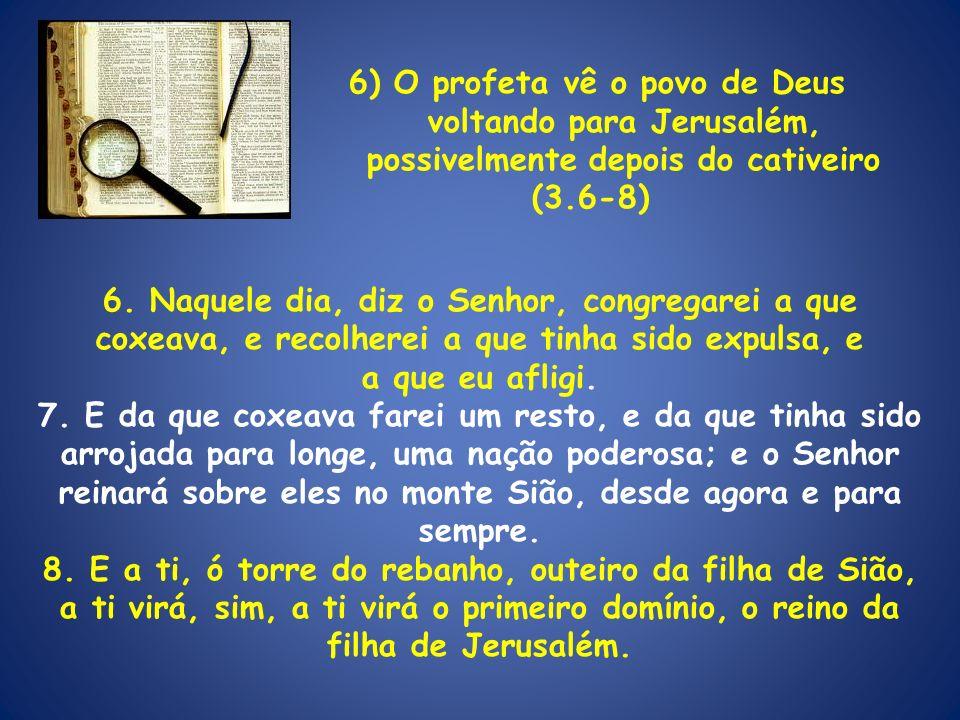6) O profeta vê o povo de Deus voltando para Jerusalém,