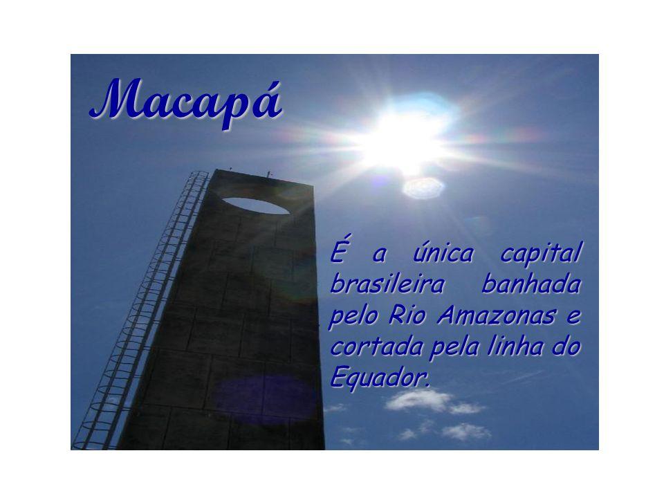 Macapá É a única capital brasileira banhada pelo Rio Amazonas e cortada pela linha do Equador.