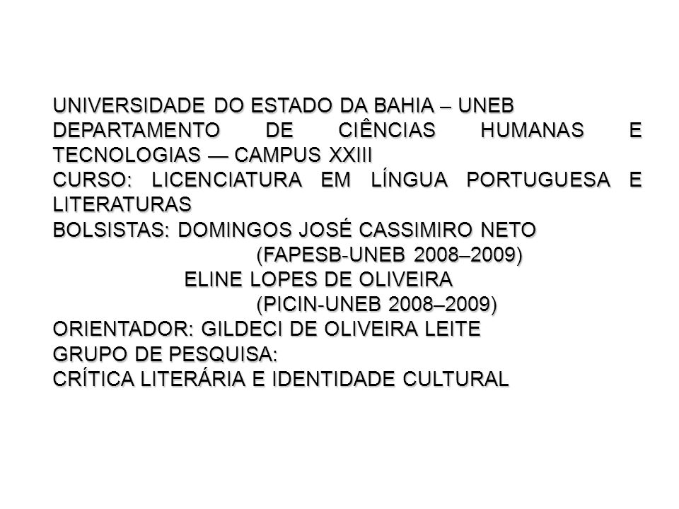 UNIVERSIDADE DO ESTADO DA BAHIA – UNEB