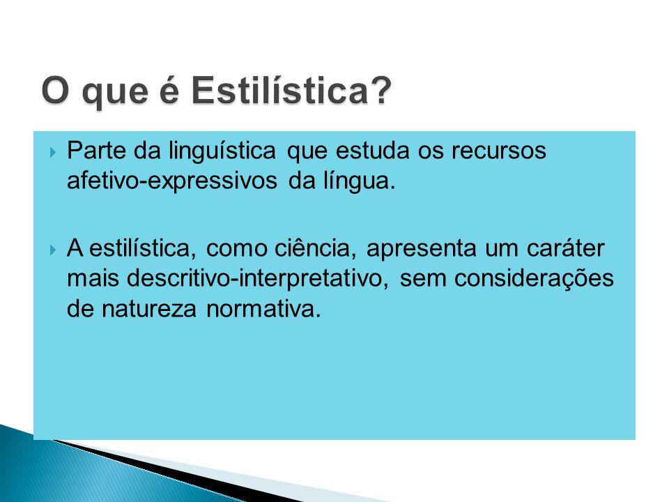 O que é Estilística Parte da linguística que estuda os recursos afetivo-expressivos da língua.