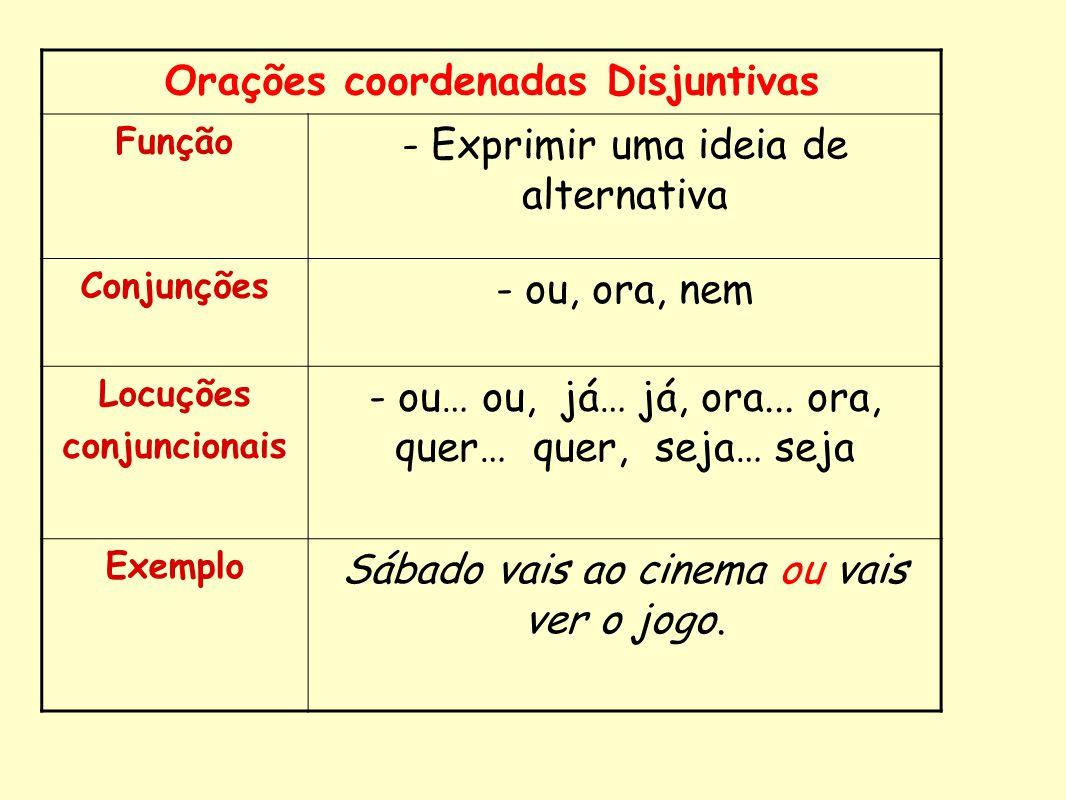 Orações coordenadas Disjuntivas