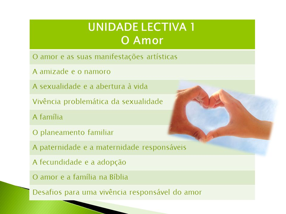 UNIDADE LECTIVA 1 O Amor O amor e as suas manifestações artísticas