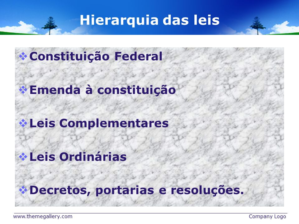 Hierarquia das leis Constituição Federal Emenda à constituição