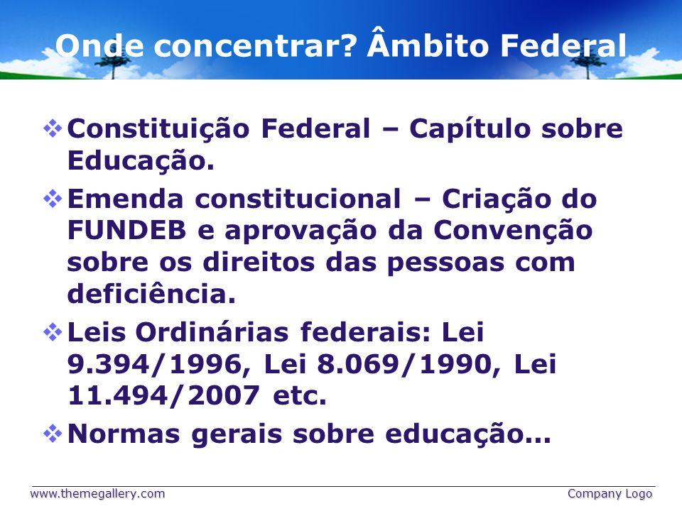 Onde concentrar Âmbito Federal
