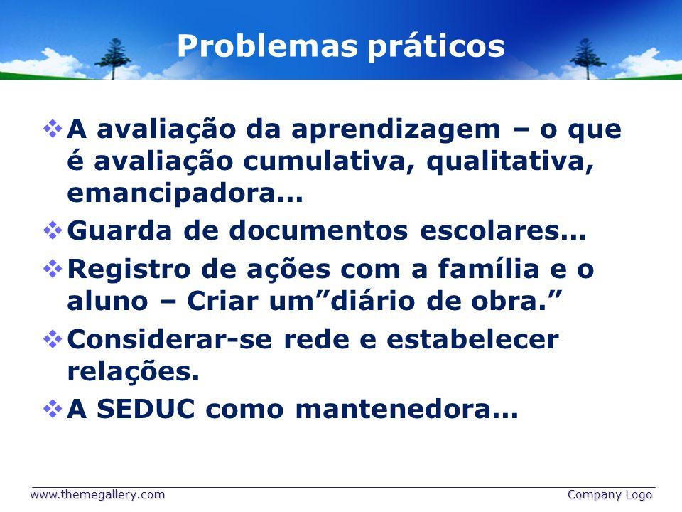 Problemas práticos A avaliação da aprendizagem – o que é avaliação cumulativa, qualitativa, emancipadora...