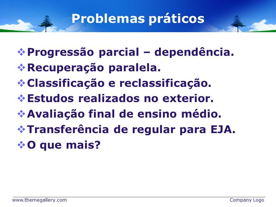 Problemas práticos Progressão parcial – dependência.