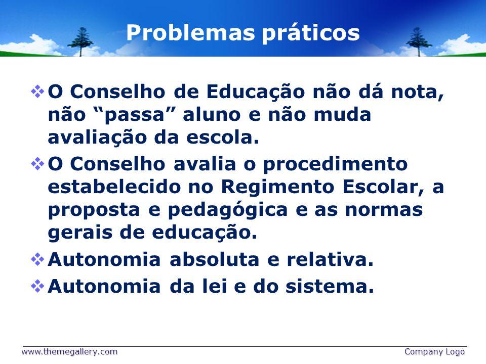 Problemas práticos O Conselho de Educação não dá nota, não passa aluno e não muda avaliação da escola.
