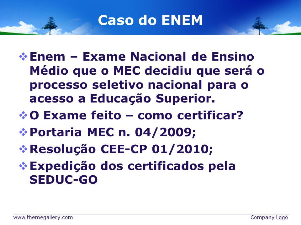 Caso do ENEM Enem – Exame Nacional de Ensino Médio que o MEC decidiu que será o processo seletivo nacional para o acesso a Educação Superior.