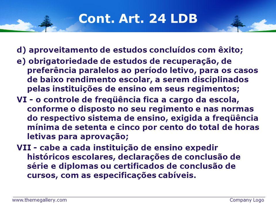Cont. Art. 24 LDB d) aproveitamento de estudos concluídos com êxito;