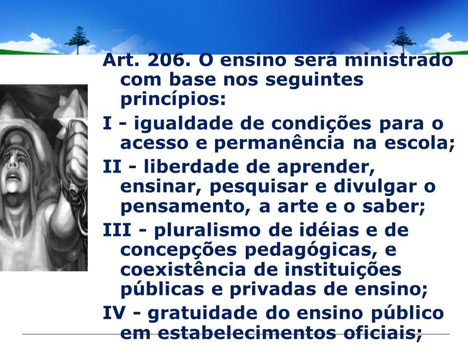 Art. 206. O ensino será ministrado com base nos seguintes princípios: