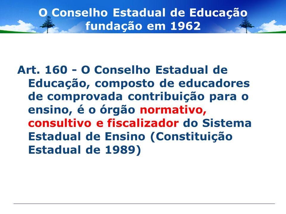 O Conselho Estadual de Educação fundação em 1962