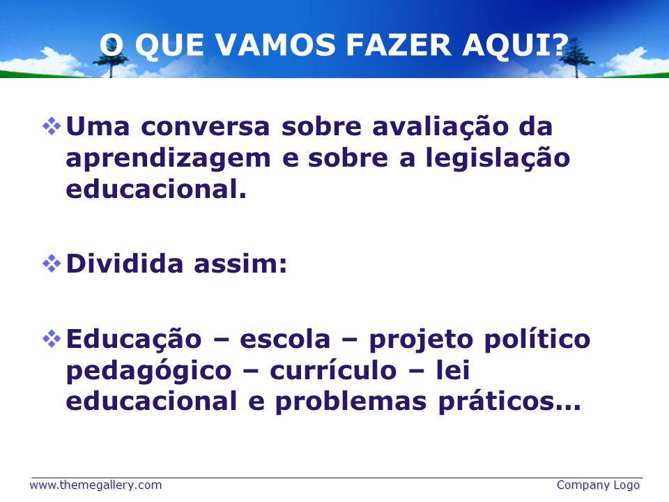 O QUE VAMOS FAZER AQUI Uma conversa sobre avaliação da aprendizagem e sobre a legislação educacional.