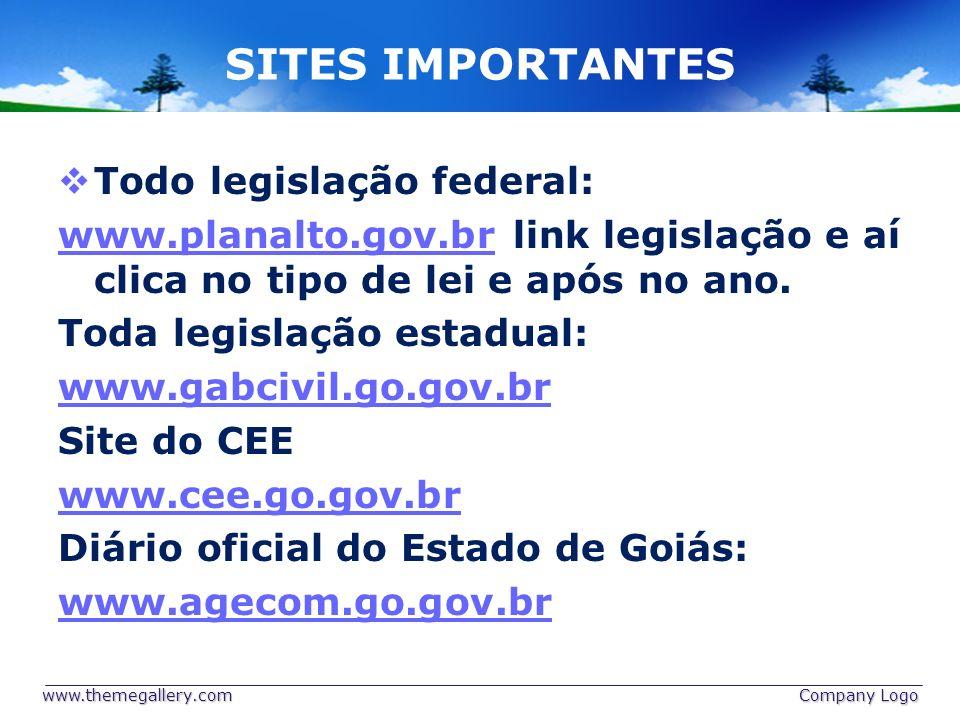 SITES IMPORTANTES Todo legislação federal: