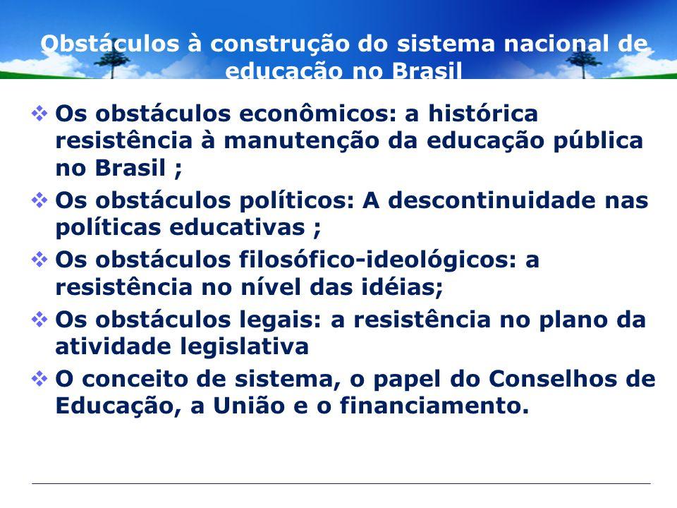 Obstáculos à construção do sistema nacional de educação no Brasil