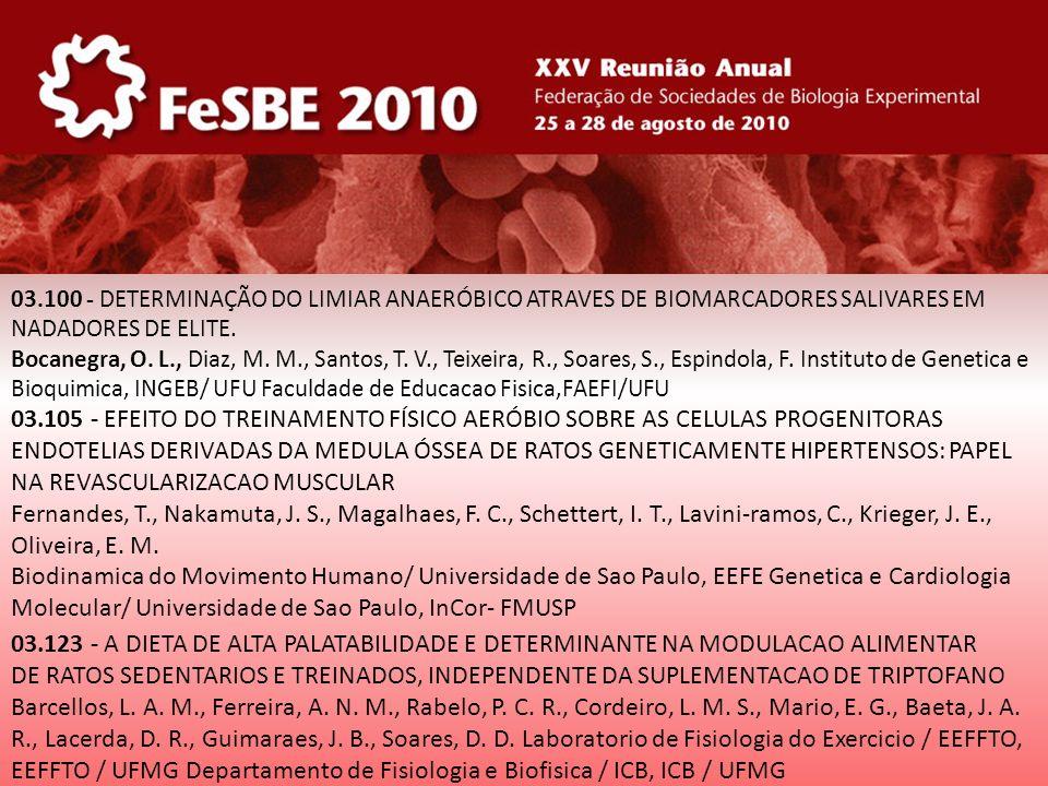 03.100 - DETERMINAÇÃO DO LIMIAR ANAERÓBICO ATRAVES DE BIOMARCADORES SALIVARES EM NADADORES DE ELITE.