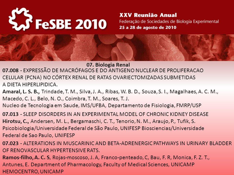 07. Biologia Renal 07.008 - EXPRESSÃO DE MACRÓFAGOS E DO ANTIGENO NUCLEAR DE PROLIFERACAO.