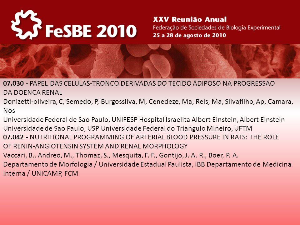 07.030 - PAPEL DAS CELULAS-TRONCO DERIVADAS DO TECIDO ADIPOSO NA PROGRESSAO