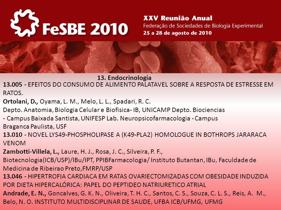 13. Endocrinologia 13.005 - EFEITOS DO CONSUMO DE ALIMENTO PALATAVEL SOBRE A RESPOSTA DE ESTRESSE EM RATOS.