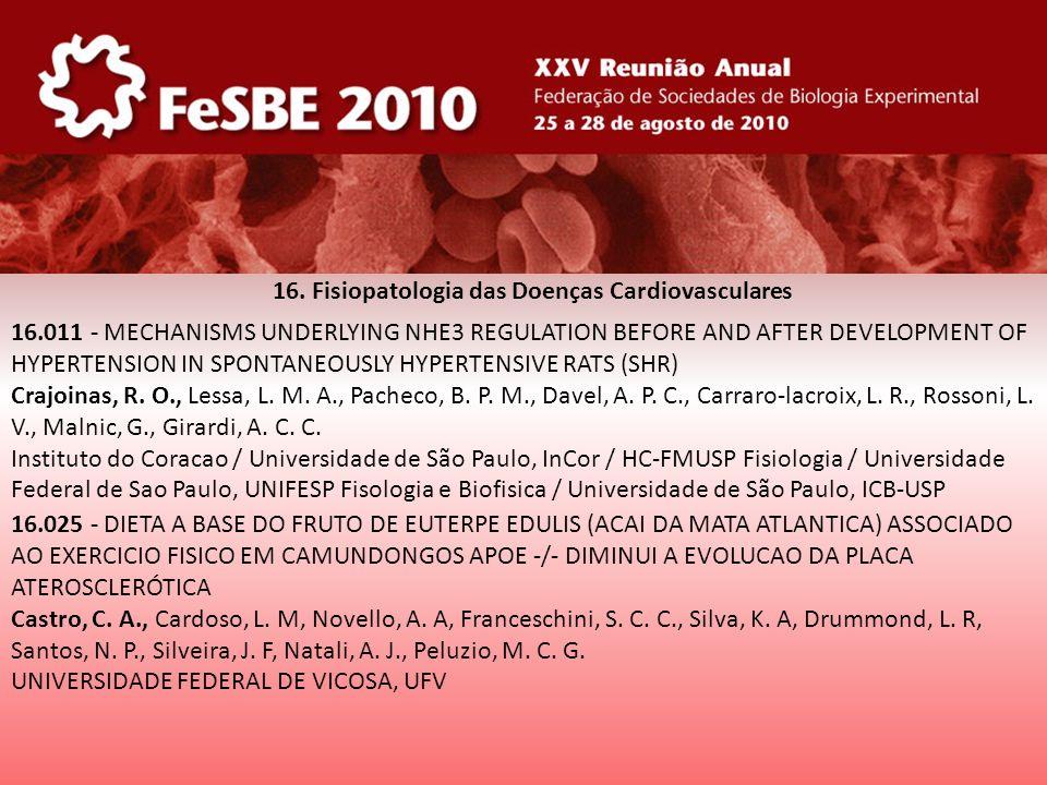 16. Fisiopatologia das Doenças Cardiovasculares