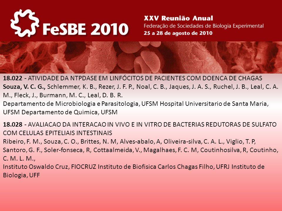 18.022 - ATIVIDADE DA NTPDASE EM LINFÓCITOS DE PACIENTES COM DOENCA DE CHAGAS