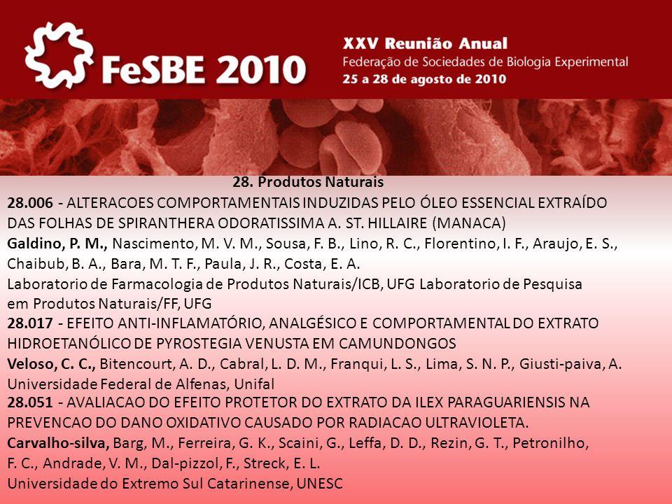 28. Produtos Naturais 28.006 - ALTERACOES COMPORTAMENTAIS INDUZIDAS PELO ÓLEO ESSENCIAL EXTRAÍDO.