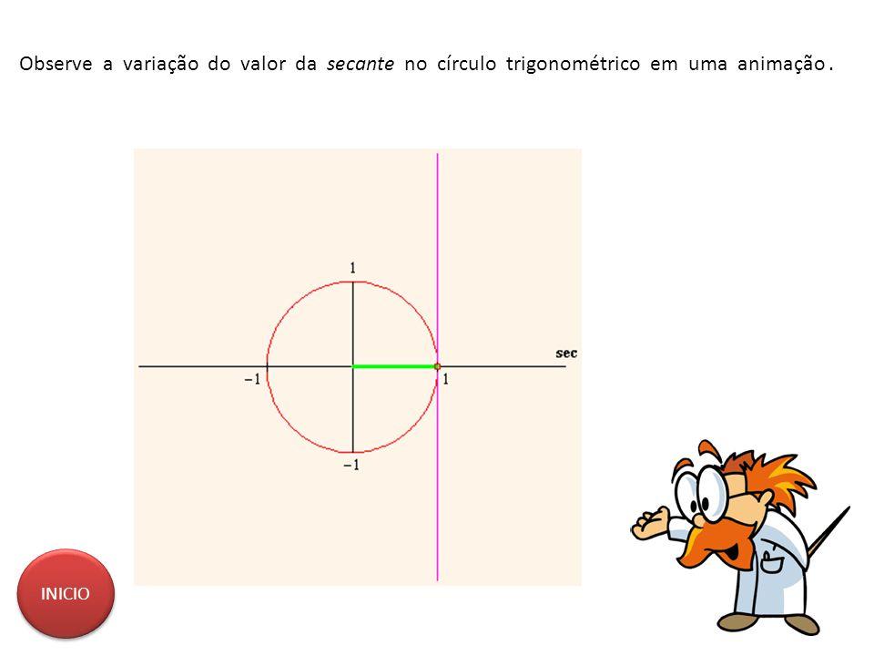 Observe a variação do valor da secante no círculo trigonométrico em uma animação .