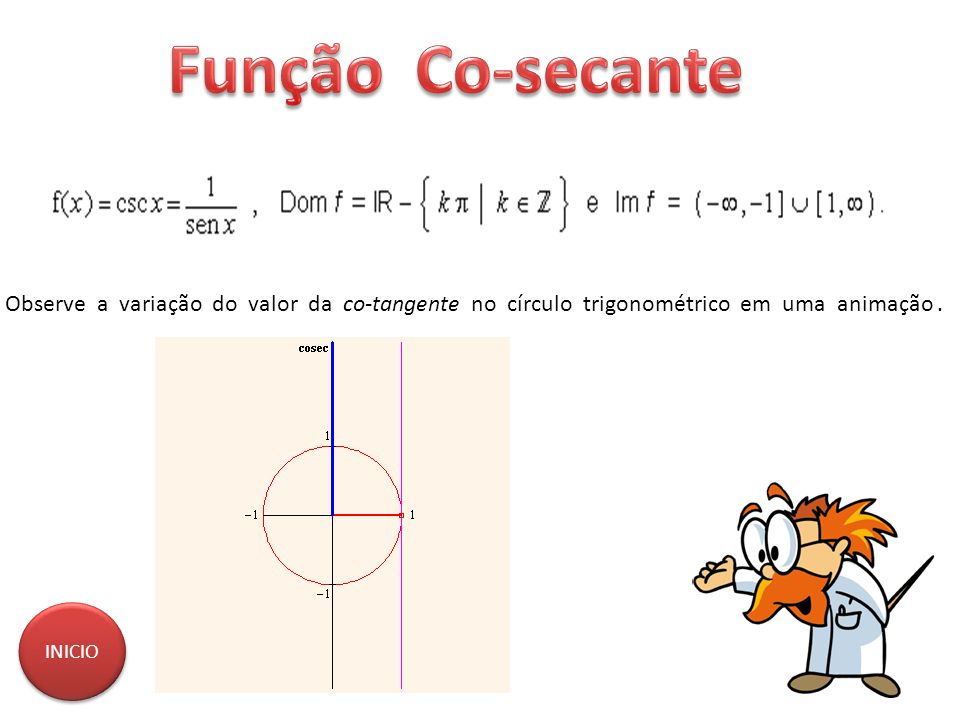 Função Co-secante Observe a variação do valor da co-tangente no círculo trigonométrico em uma animação .