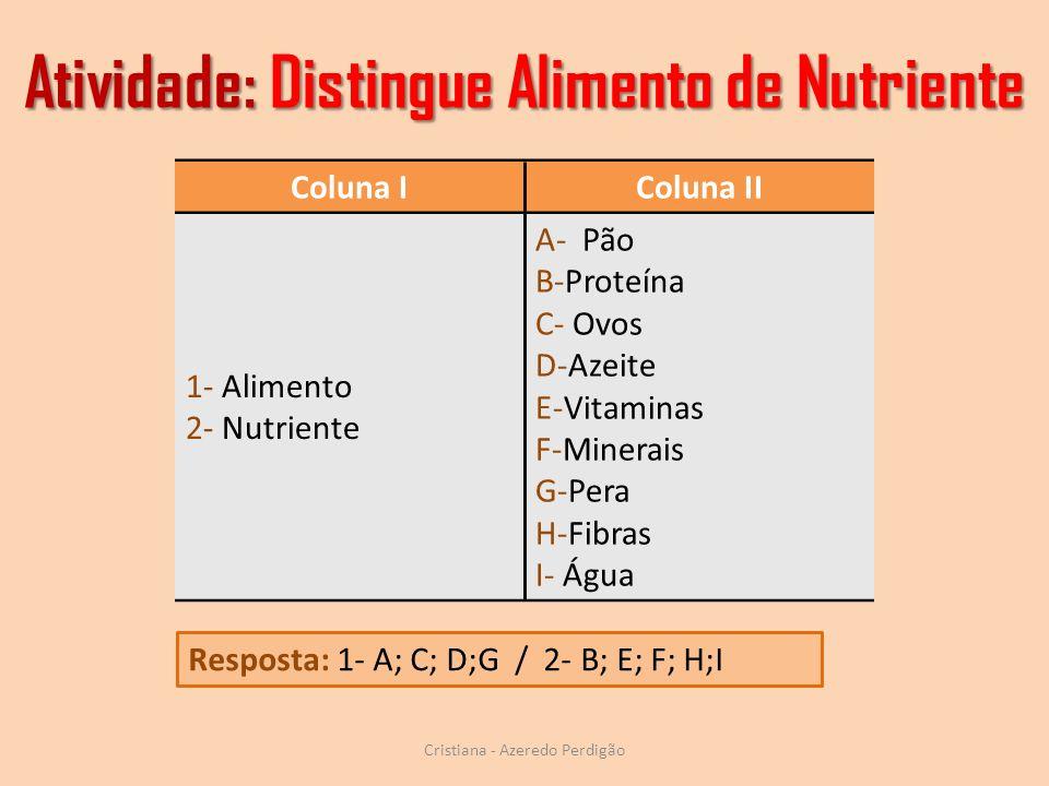 Atividade: Distingue Alimento de Nutriente