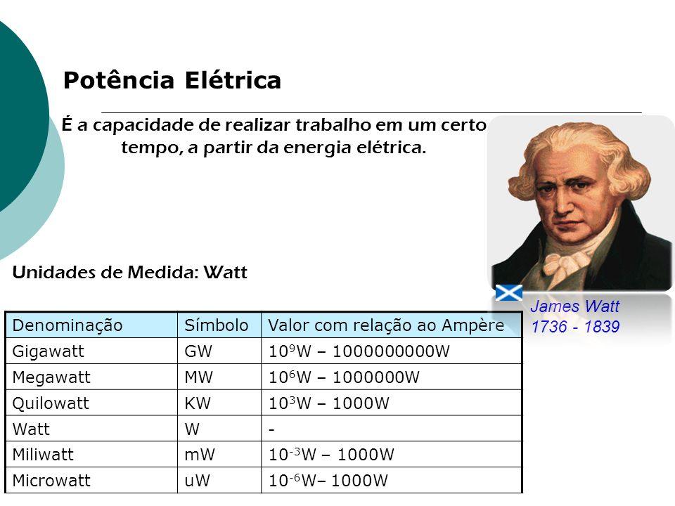 Potência Elétrica É a capacidade de realizar trabalho em um certo tempo, a partir da energia elétrica.