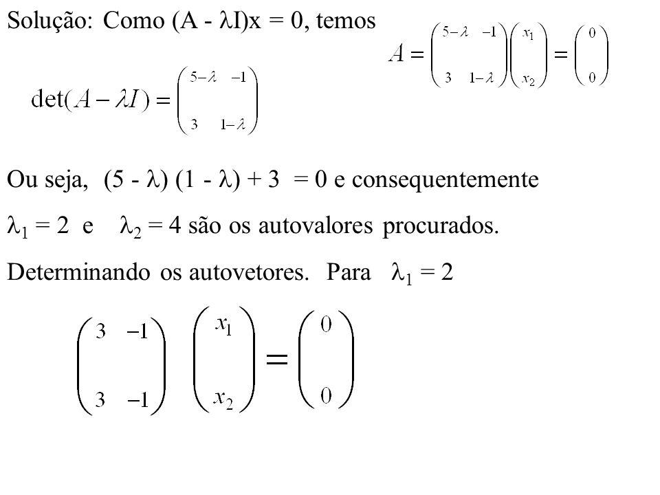 Solução: Como (A - I)x = 0, temos
