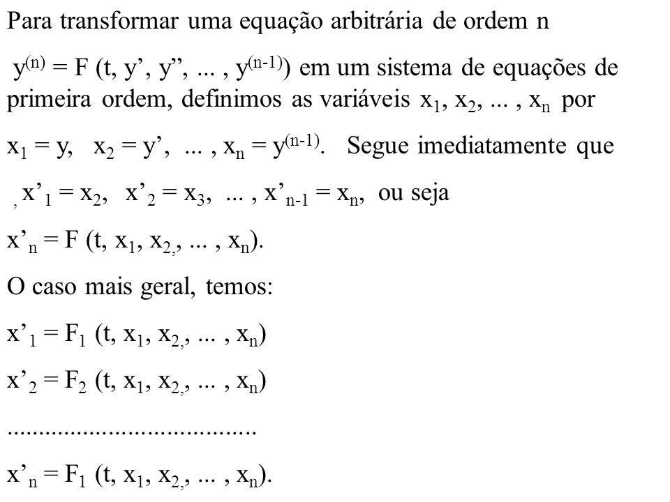 Para transformar uma equação arbitrária de ordem n