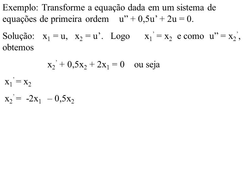 Exemplo: Transforme a equação dada em um sistema de equações de primeira ordem u + 0,5u' + 2u = 0.