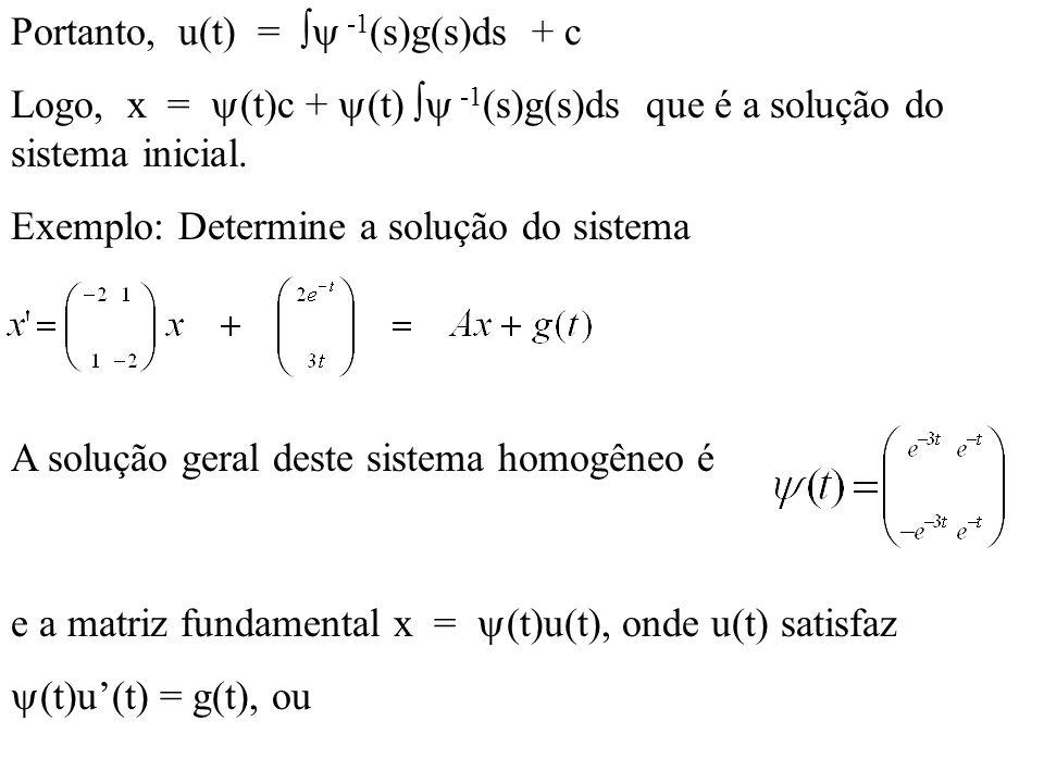 Portanto, u(t) =  -1(s)g(s)ds + c