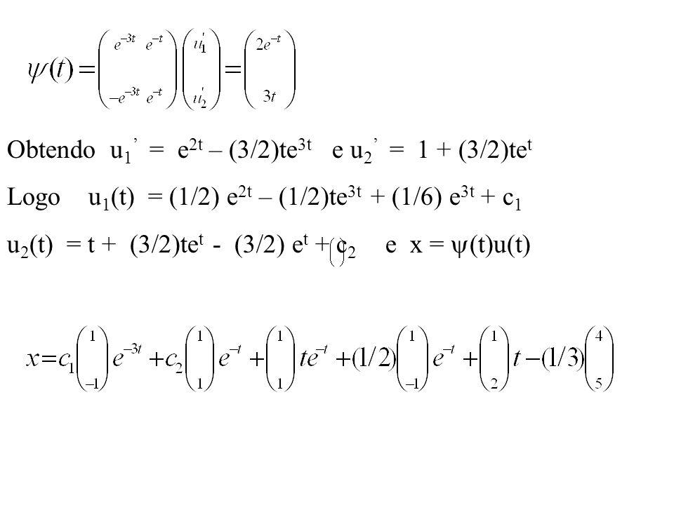 Obtendo u1' = e2t – (3/2)te3t e u2' = 1 + (3/2)tet