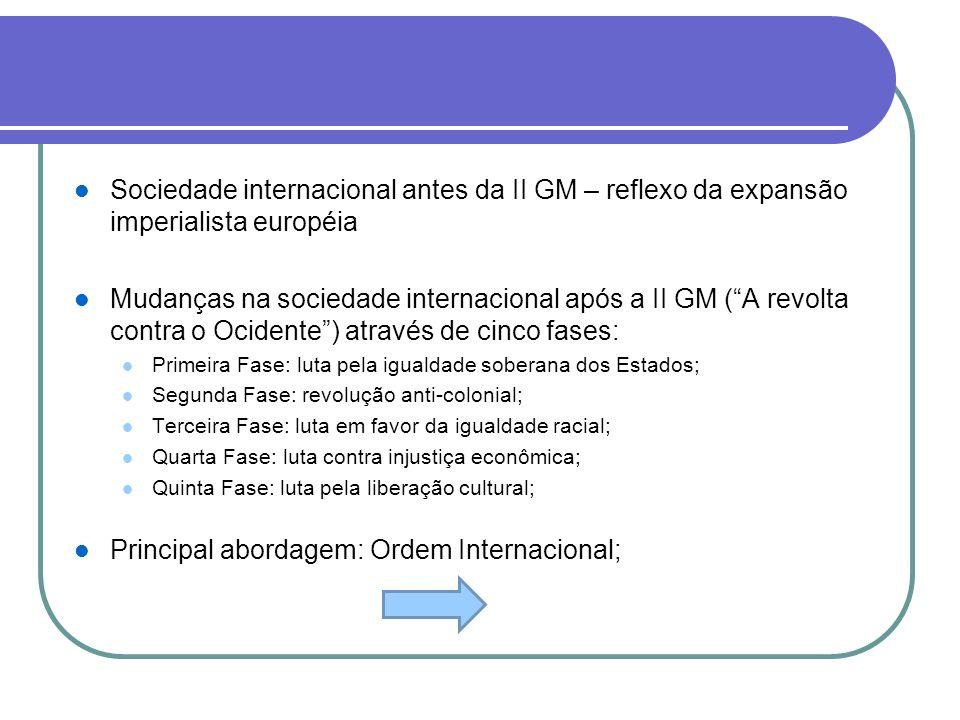 Principal abordagem: Ordem Internacional;
