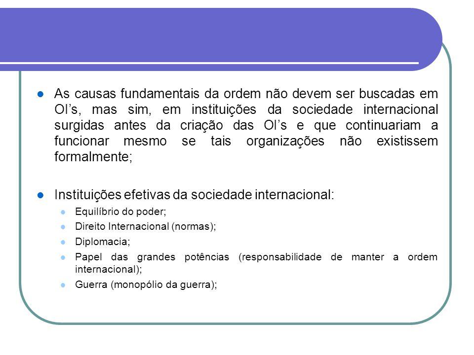Instituições efetivas da sociedade internacional: