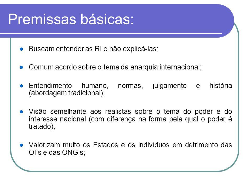 Premissas básicas: Buscam entender as RI e não explicá-las;
