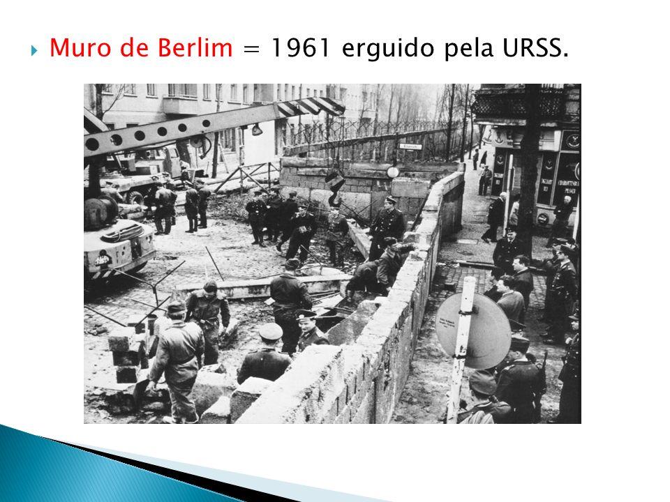 Muro de Berlim = 1961 erguido pela URSS.