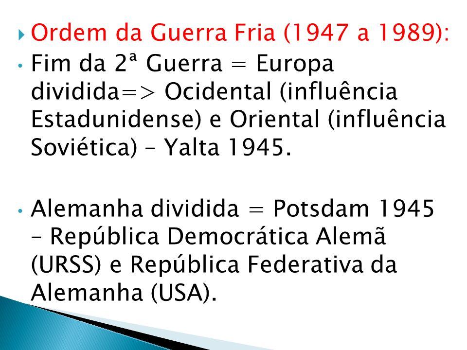 Ordem da Guerra Fria (1947 a 1989):