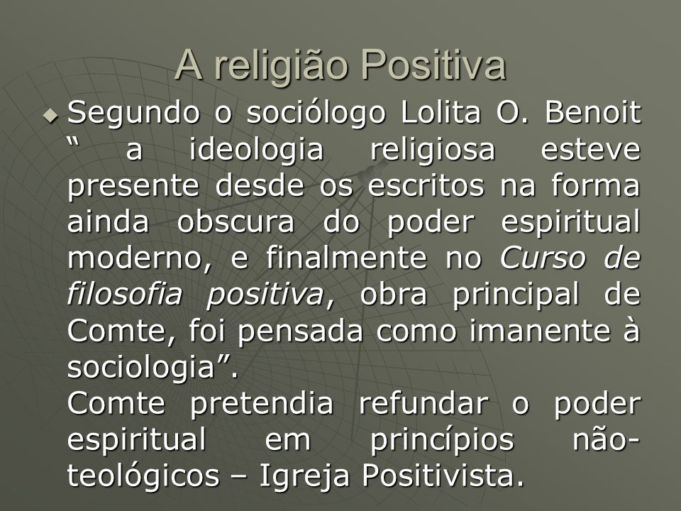 A religião Positiva