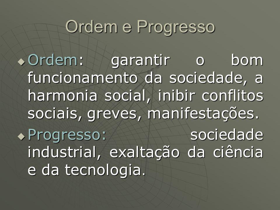 Ordem e Progresso Ordem: garantir o bom funcionamento da sociedade, a harmonia social, inibir conflitos sociais, greves, manifestações.