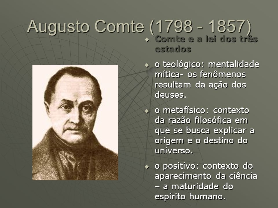 Augusto Comte (1798 - 1857) Comte e a lei dos três estados