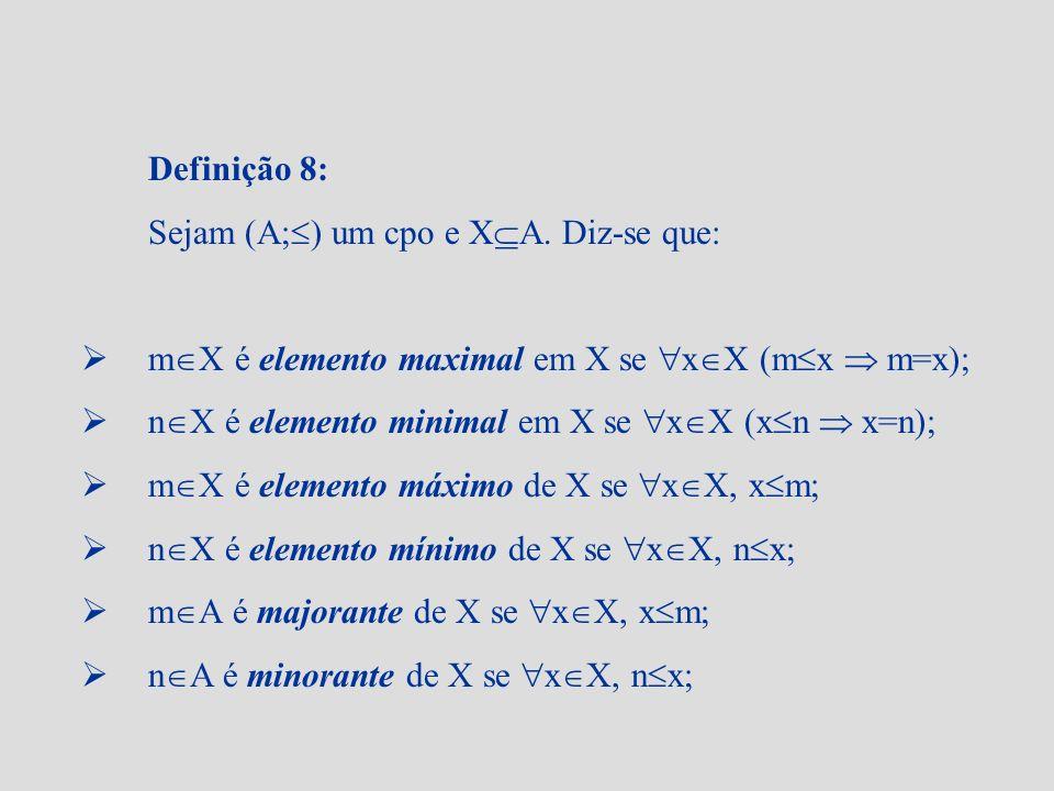 Definição 8: Sejam (A;) um cpo e XA. Diz-se que: mX é elemento maximal em X se xX (mx  m=x);