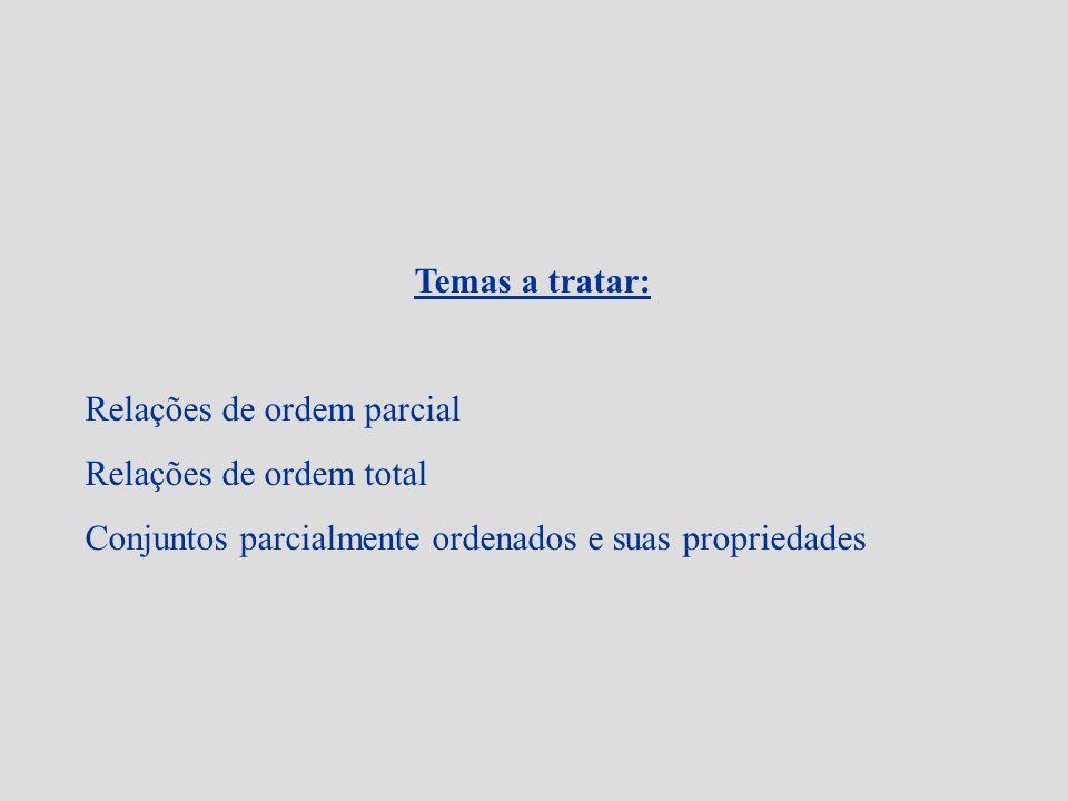 Temas a tratar: Relações de ordem parcial. Relações de ordem total.