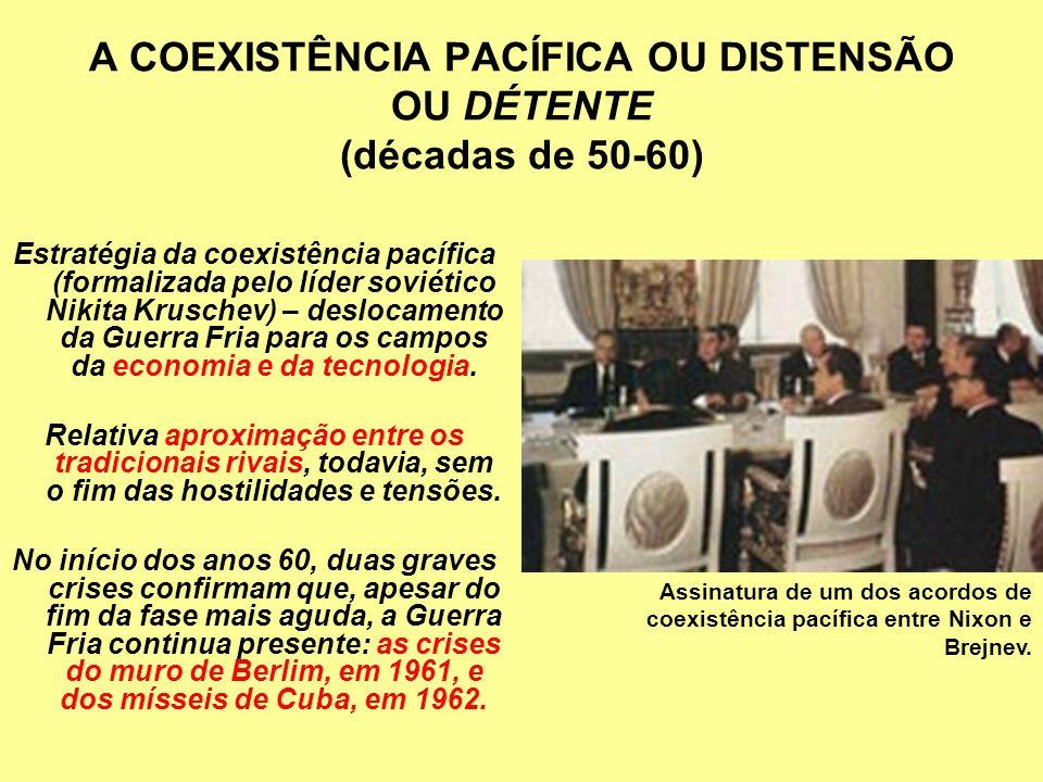 A COEXISTÊNCIA PACÍFICA OU DISTENSÃO OU DÉTENTE (décadas de 50-60)