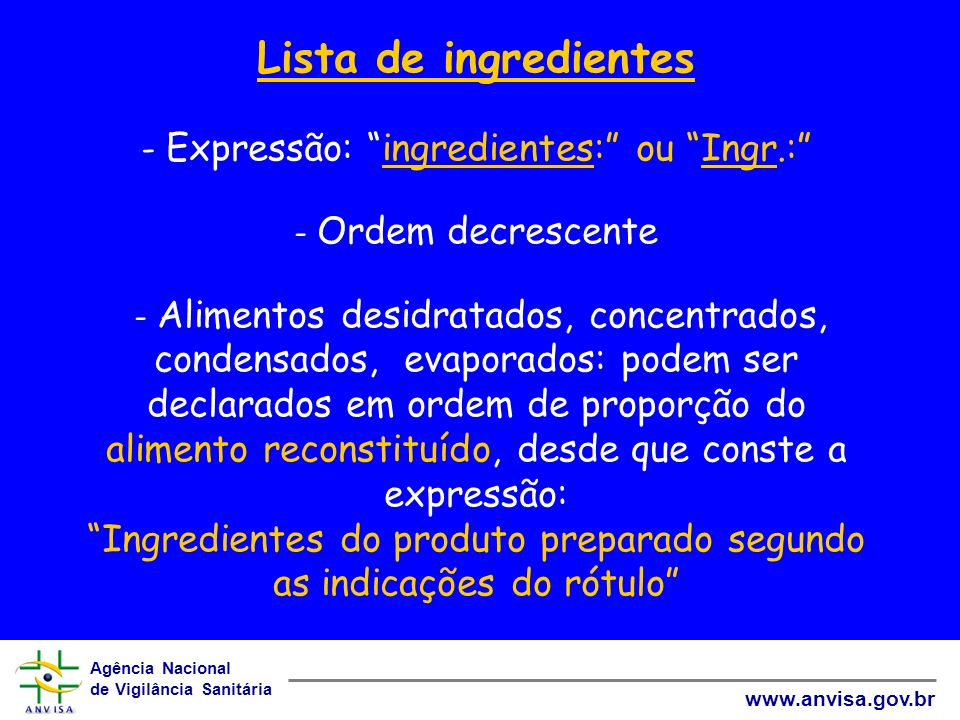 Lista de ingredientes - Expressão: ingredientes: ou Ingr