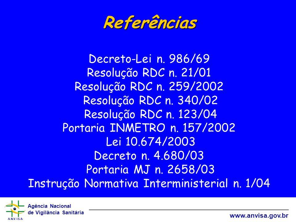 Referências Decreto-Lei n. 986/69 Resolução RDC n