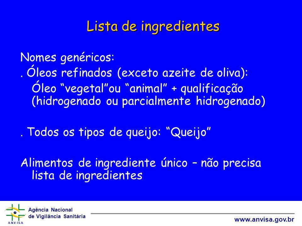 Lista de ingredientes Nomes genéricos: